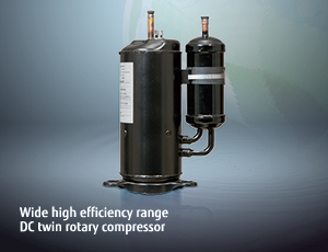 Wide high efficiency range DC twin rotary compressor.