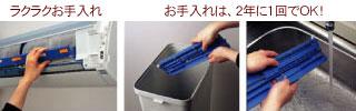 ダストボックス取り外し写真。たまったらゴミ箱へ捨てる写真。掃除機で吸い取っている写真。水洗い写真。