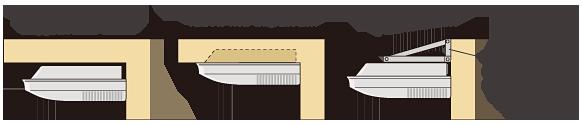 Ex. Подвесной подпотолочный, Частично скрытый, Настенный(Кронштейн предоставляется заказчиком)