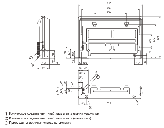 Помещение Габаритные размеры : 199×990×655мм