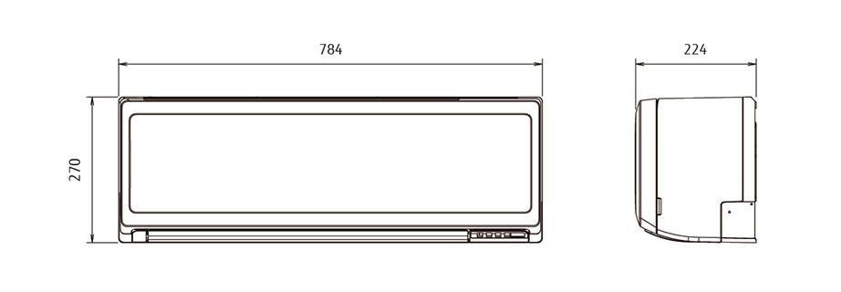 Dimensiuni Unitate interioară - Fujitsu General ASHG09KPCA/AOHG09KPCA
