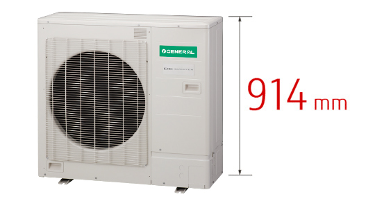 Example of 14kW class multi split model : 1290mm , New model [Height difference 29%] : 914mm