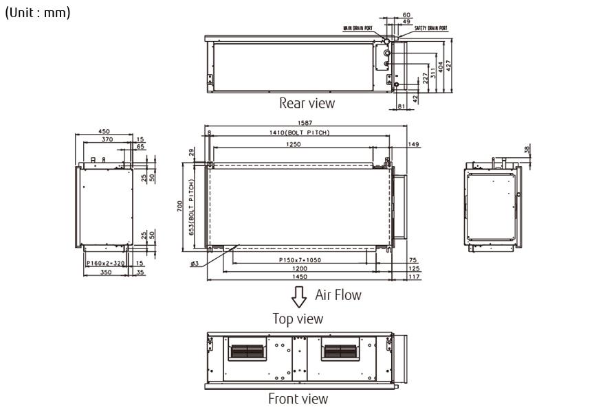 split systems air conditioner aryc72lhta 3phase fujitsu indoor unit aryc72lhta