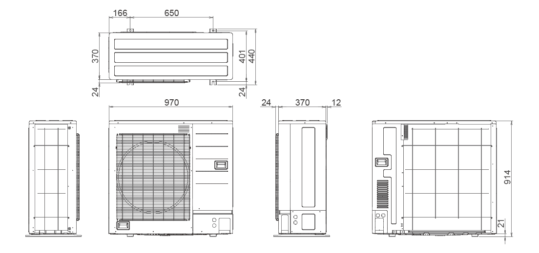 Outdoor Unit Dimensions : 914×970×370mm