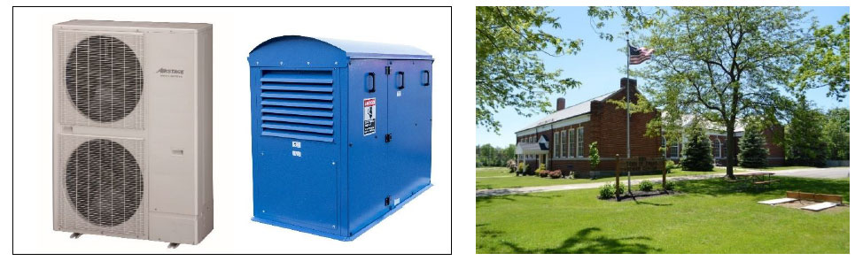 Left: VRF J IV S eries outdoor unit and VS1000 RTe ventilation system the air conditioning systems used in the demonstration project, Right: Senior Citizen Center, Evans , New York State, where the demonstration project will be conducted