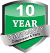 10-Year Parts and Compressor warranty.