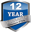 12-Year Parts and Compressor warranty.