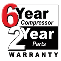 6 year compressor 2year parts Warranty.